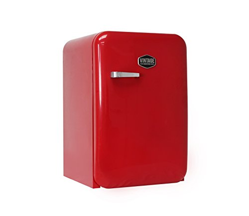 Vintage Industries ~ Kompakt Retro-Kühlschrank Kingston 2018 in rot | Mini-Bar 50er Jahre Look | Größe: 84cm & 115l Volumen | Tisch-Kühlschrank mit Temperatureinstellung, Wein- & Gemüsefach