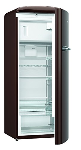 Gorenje ORB 153 CH Kühlschrank mit Gefrierfach / A+++ / Höhe 154 cm / Kühlen: 229 L / Gefrieren: 25 L / Dark Chocolate / DynamicCooling-System / LED Beleuchtung / Oldtimer / Retro Collection