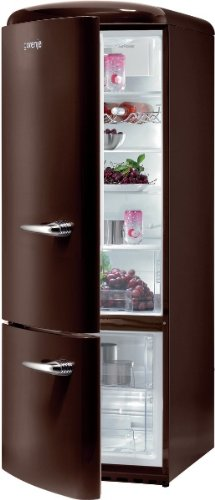 Gorenje RK 60319 OCH-L Kühl-Gefrier-Kombination / A++ / Höhe 170 cm / Kühlen: 231 L / Gefrieren: 53 L / Dark Chocolate / DynamicCooling-System / LED Beleuchtung / Flaschengitter / Oldtimer / Retro Collection